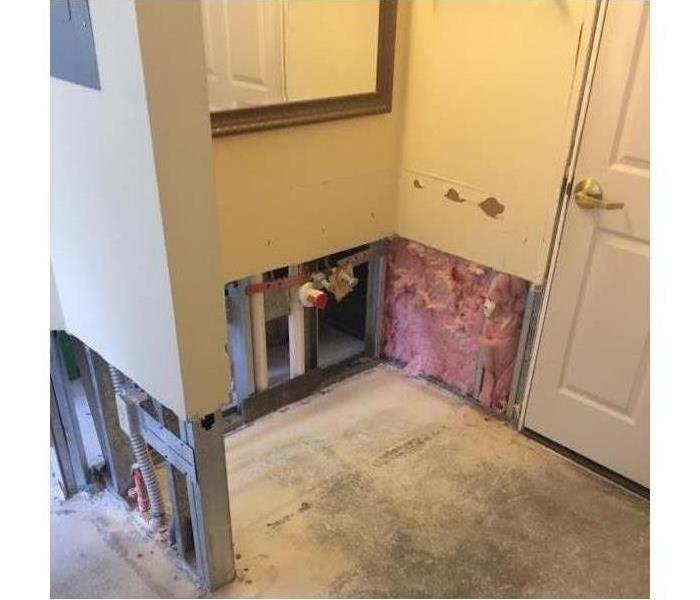 Flood cut performed in a home after flood damage